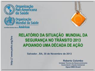 RELATÓRIO  D A SITUAÇÃO  MUNDIAL DA SEGURANÇA NO TRÂNSITO  2013  APOIANDO UMA DÉCADA DE AÇÃO