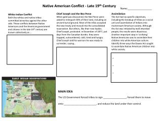 Native American Conflict - Late 19 th  Century