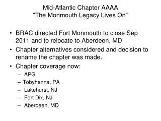 "Mid-Atlantic Chapter AAAA ""The Monmouth Legacy Lives On"""