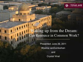Waking up from the Dream:  Can Resource in Common Work?