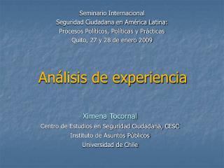 Análisis de experiencia
