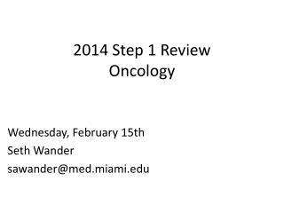 2014 Step 1 Review Oncology