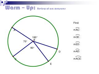 Warm – Up:  Review of arc measures
