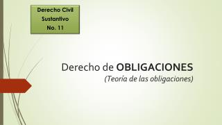 Derecho de  OBLIGACIONES (Teoría de las obligaciones)