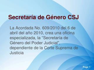 Secretaría de Género CSJ