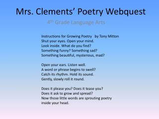 Mrs. Clements' Poetry  Webquest