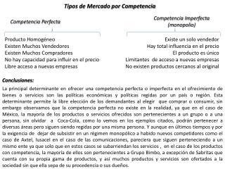 Tipos de Mercado por Competencia