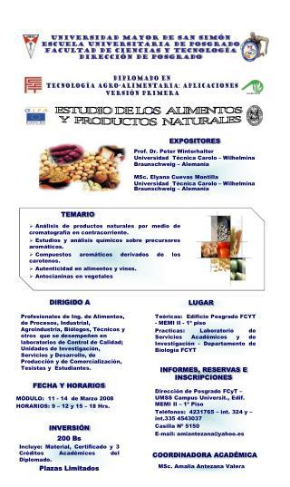 ESTUDIO DE LOS  ALIMENTOS  Y  PRODUCTOS  NATURALES