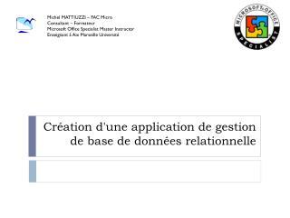 Création d'une application de gestion de base de données relationnelle