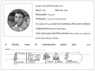 Jacques  Tatischeff  dit Jacques Tati Né en  1907  Mort en  1982 Nationalité :  française