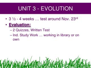 UNIT  3  - EVOLUTION