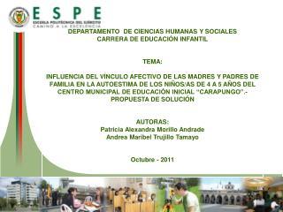 DEPARTAMENTO  DE CIENCIAS HUMANAS Y SOCIALES CARRERA DE EDUCACIÓN INFANTIL TEMA: