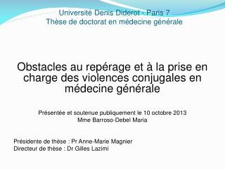 Université  D enis Diderot -  P aris 7 Thèse de doctorat en médecine générale