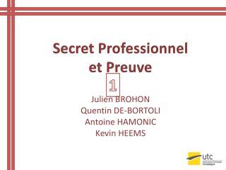 Secret  Professionnel et Preuve