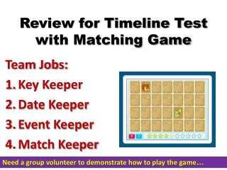 Review for Timeline Test with Matching Game