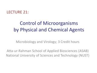 Control  of Microorganisms  by Physical and  Chemical  Agents