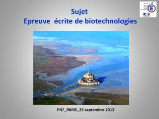 Sujet  Epreuve écrite de biotechnologies