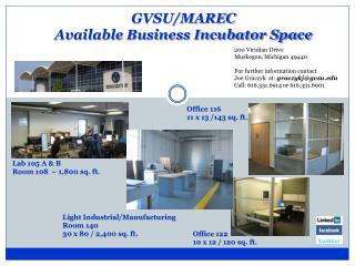 GVSU/MAREC  Available Business Incubator Space