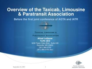 Overview of the Taxicab, Limousine & Paratransit Association