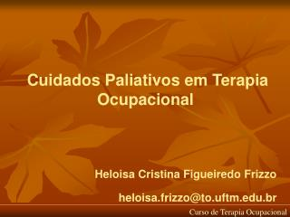 Cuidados Paliativos em Terapia Ocupacional   Heloisa Cristina Figueiredo Frizzo heloisa.frizzoto.uftm.br