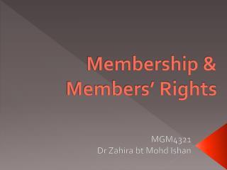 Membership & Members' Rights
