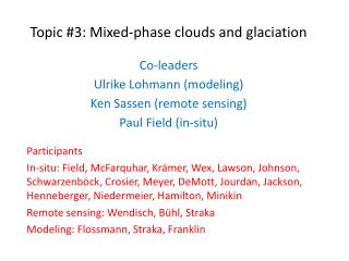 Topic #3: Mixed-phase clouds and glaciation