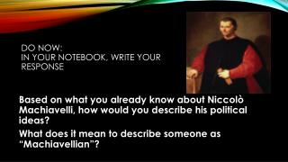 Do Now: In your notebook, write your response