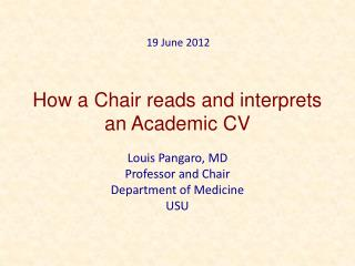 How a Chair reads and interprets an Academic CV