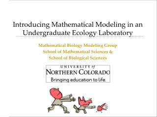 Introducing Mathematical Modeling in an Undergraduate Ecology Laboratory