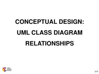 CONCEPTUAL DESIGN:  UML CLASS DIAGRAM RELATIONSHIPS