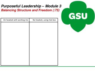 Purposeful Leadership –  Module 3 Balancing Structure and  Freedom (:75)