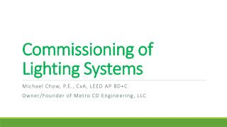 Commissioning of Lighting Systems