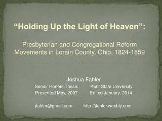 Joshua  Fahler Senior Honors  Thesis          Kent State University