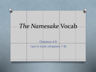 The Namesake  Vocab