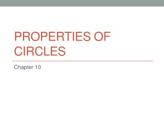 Properties of circles
