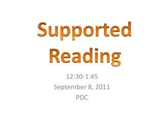 12:30-1:45 September 8, 2011 PDC