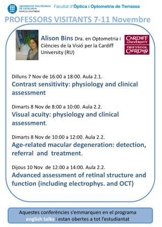 PROFESSORS VISITANTS 7-11  Novembre