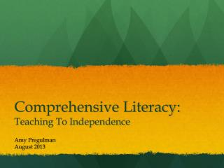 Comprehensive Literacy: Teaching To Independence
