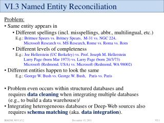VI.3 Named Entity Reconciliation