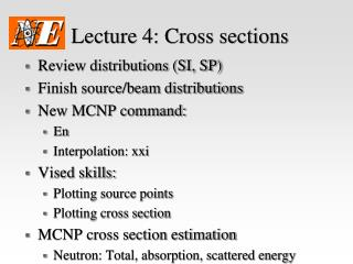 Lecture 4:  Cross sections