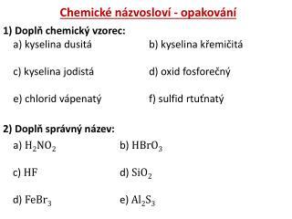 Chemické názvosloví - opakování
