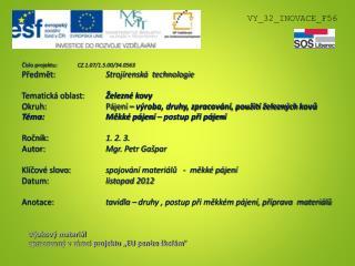 """Výukový materiál zpracovaný v rámci projektu """"EU peníze školám """""""