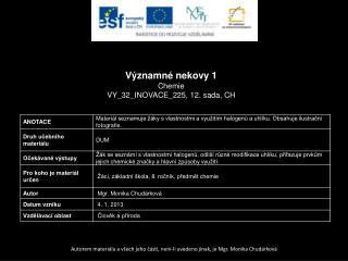 Významné nekovy 1 Chemie VY_32_INOVACE_225, 12.  sada,  CH