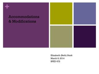 Accommodations & Modifications