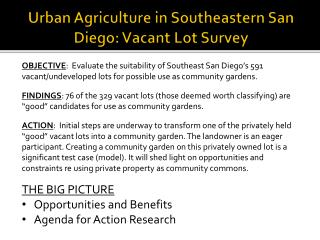 Urban Agriculture in Southeastern San Diego: Vacant Lot Survey
