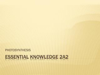 Essential Knowledge 2A2