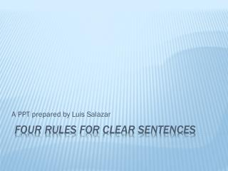 Four Rules for Clear Sentences