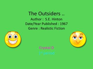 The Outsiders .. Author :  S.E. Hinton  Date/Year Published : 1967 Genre : Realistic Fiction
