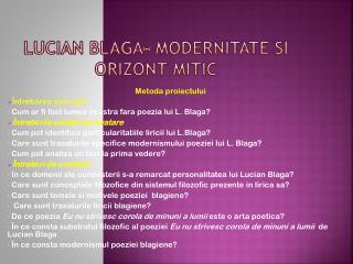 Lucian  blaga -  modernitate si orizont mitic