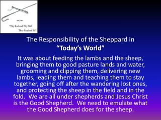 "The Responsibility of the Sheppard in  ""Today's World"""